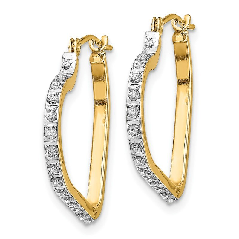 Quality Gold 14k Diamond Fascination Heart Hinged Hoop Earrings