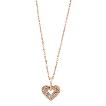 Diamond Double Row Beaded Heart Pendant in 14k Yellow Gold (0.05ctw)