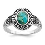 Quality Gold Sterling Silver Rhodium-plated Oxidized Recon. Turquoise Ring