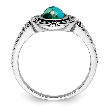 Sterling Silver Rhodium-plated Oxidized Recon. Turquoise Ring