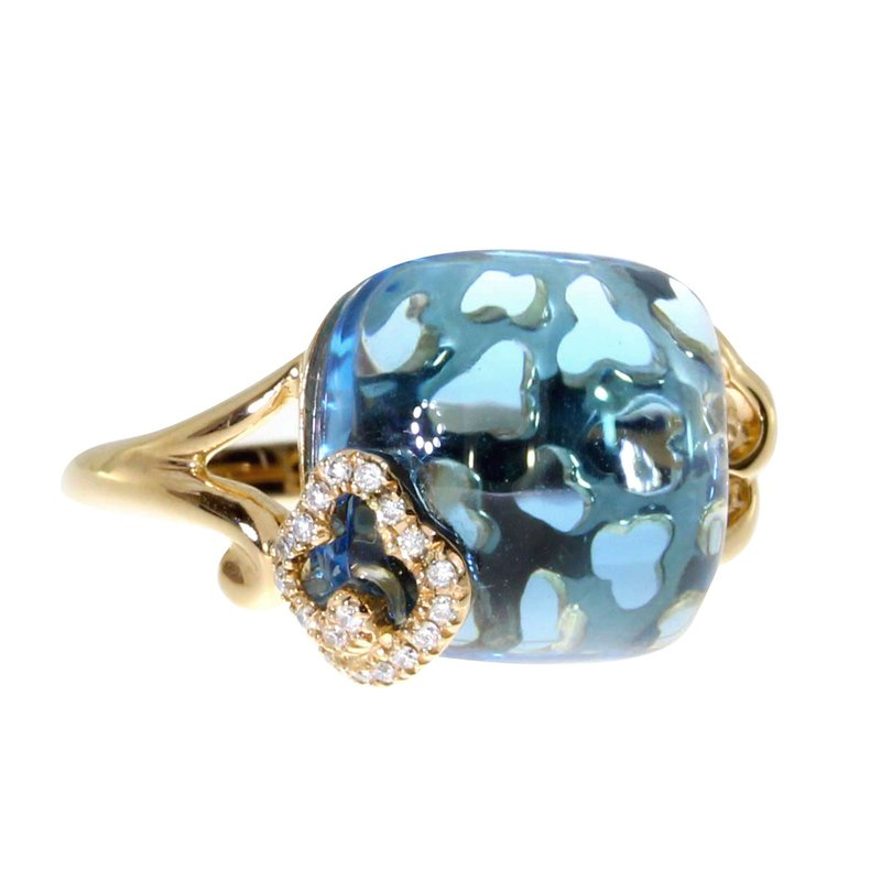 Color Merchants 14k Rose Gold Blue Topaz and Diamond Ring