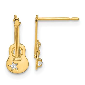 14k Madi K CZ Children's Guitar Post Earrings