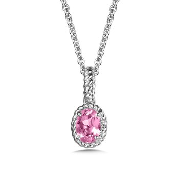 Created Pink Sapphire Pendant in Sterling Silver