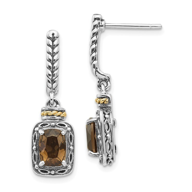 Quality Gold Sterling Silver w/14k Antiqued Smoky Quartz Post Dangle Earrings