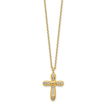 14K Cross CZ with 2IN EXT Necklace