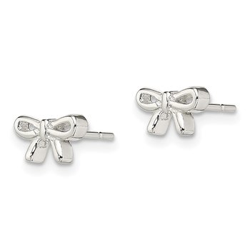 Sterling Silver Polished Bow Post Earrings