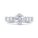 Carizza 14K White Gold Oval Diamond Engagement Ring (Semi-Mount)