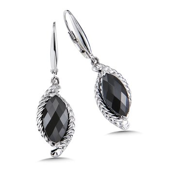 Sterling Silver Onyx Leverback Earrings