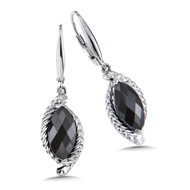 Colore Sg Sterling Silver Onyx Leverback Earrings