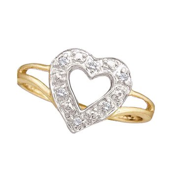 14kt Yellow Gold Womens Round Diamond Split-shank Heart Ring 1/20 Cttw