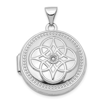 14K White Gold 20mm Diamond Locket Pendant