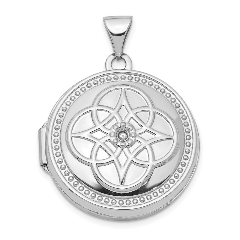 14K White Gold 22mm Diamond Locket Pendant