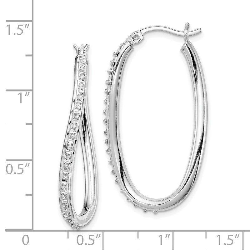Quality Gold Sterling Silver Diamond Mystique Oval Twist Hoop Earrings