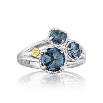 Petite Budding Brilliance Ring featuring London Blue Topaz
