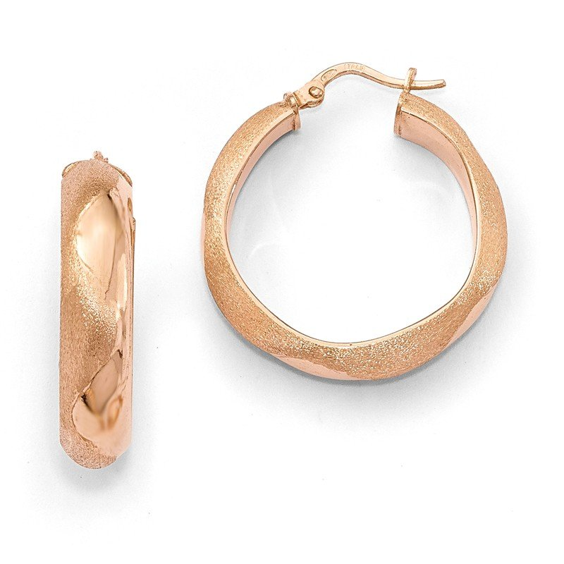 Leslie's Leslie's SS Rose Plated Hoop Earrings
