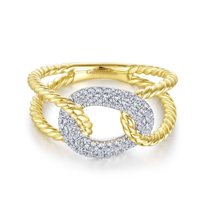 Amavida 14K Yellow/White Gold Twisted Split Shank Ring