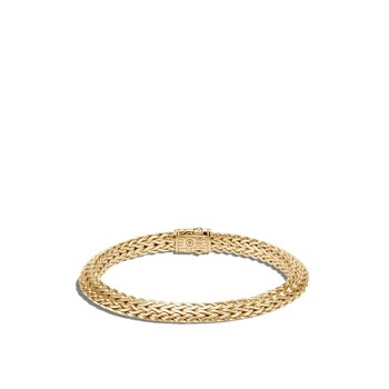 Tiga Classic Chain 6.5MM Bracelet in 18K Gold with Diamonds
