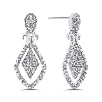 10K White Gold .14 Ct Diamond Fashion Earrings