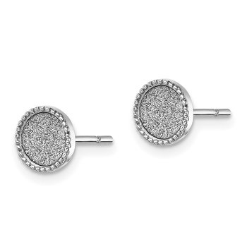 Sterling Silver Rhodium-plated Enamel Glitter Fabric Post Earrings