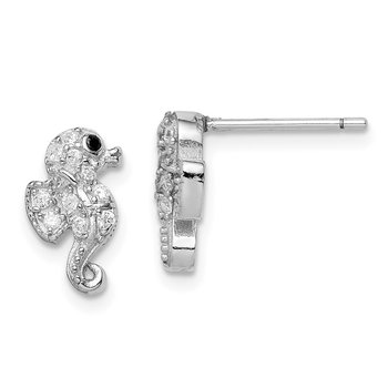 Sterling Silver Rhodium-plated CZ Seahorse Post Earrings