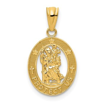 14k Gold Polished St Christopher Pendant