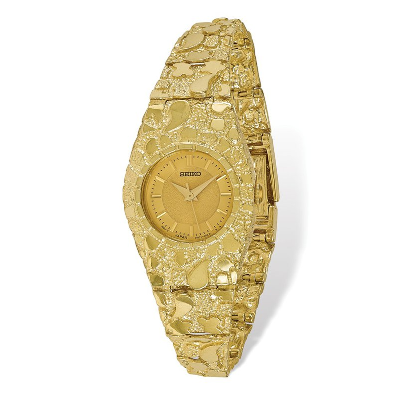 Quality Gold 10k Champagne 22mm Dial Nugget Watch