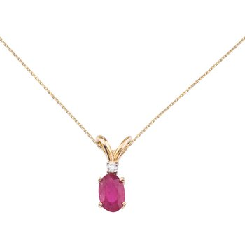 14k Yellow Gold Ruby and Diamond Oval Pendant