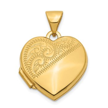 14k 15mm Half Scroll Design Heart Locket