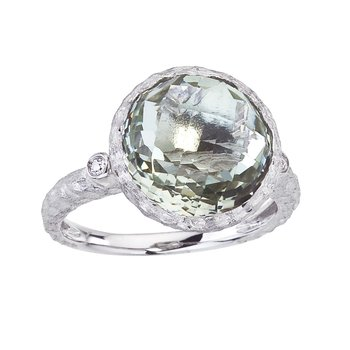 14k Brushed White Gold Round Green Amethyst and Diamond Ring