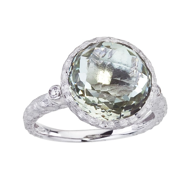 Color Merchants 14k Brushed White Gold Round Green Amethyst and Diamond Ring