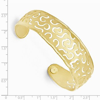 Leslie's Sterling Silver Gold Flash-plated Satin-Finish Cuff Bracelet