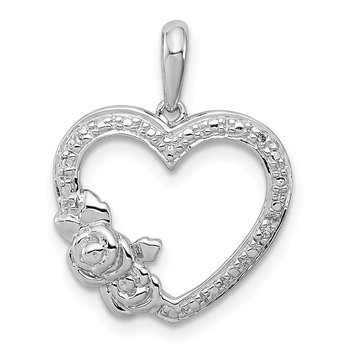 Sterling Silver Rhodium Plated Diamond Heart Pendant