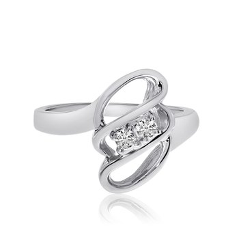 14K White Gold Swirl Two-Stone Diamond Ring