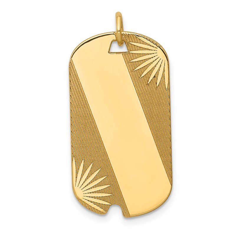 Quality Gold 14k Patterned .018 Gauge Engravable Dog Tag Disc Charm
