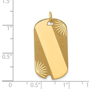 14k Patterned .018 Gauge Engravable Dog Tag Disc Charm