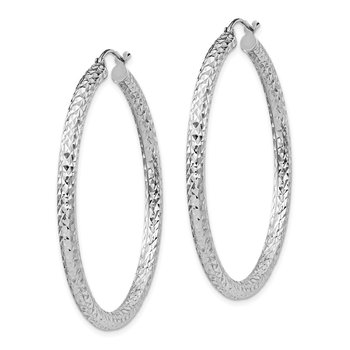 Sterling Silver Rhodium-plated D/C 3x45mm Hoop Earrings