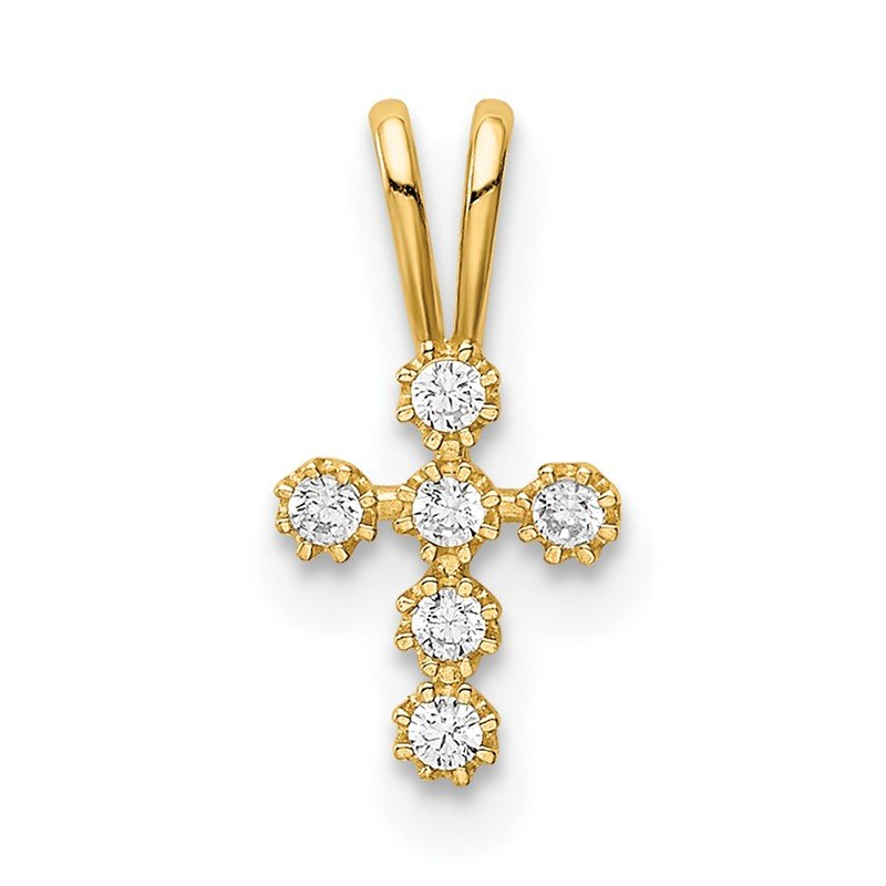 Quality Gold 14K CZ Cross Pendant