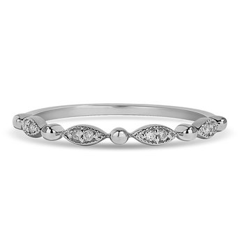 10K WG and diamond alternating pear shape and plain round bead Stackable band in pre pave setting