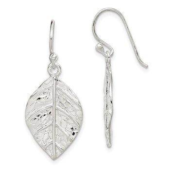 Sterling Silver Leaf Textured Dangle Earrings