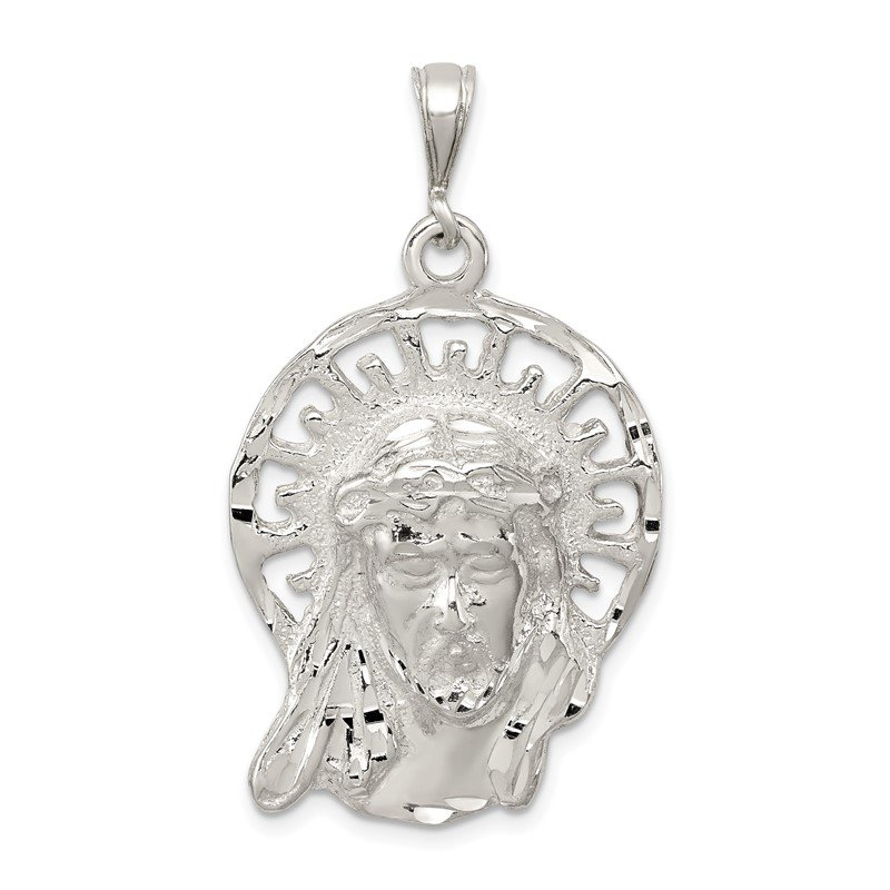 Sterling Silver Polished & Textured Jesus Head Pendant