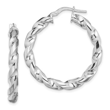 Sterling Silver Rhodium-plated 4x25mmTwisted Hoop Earrings