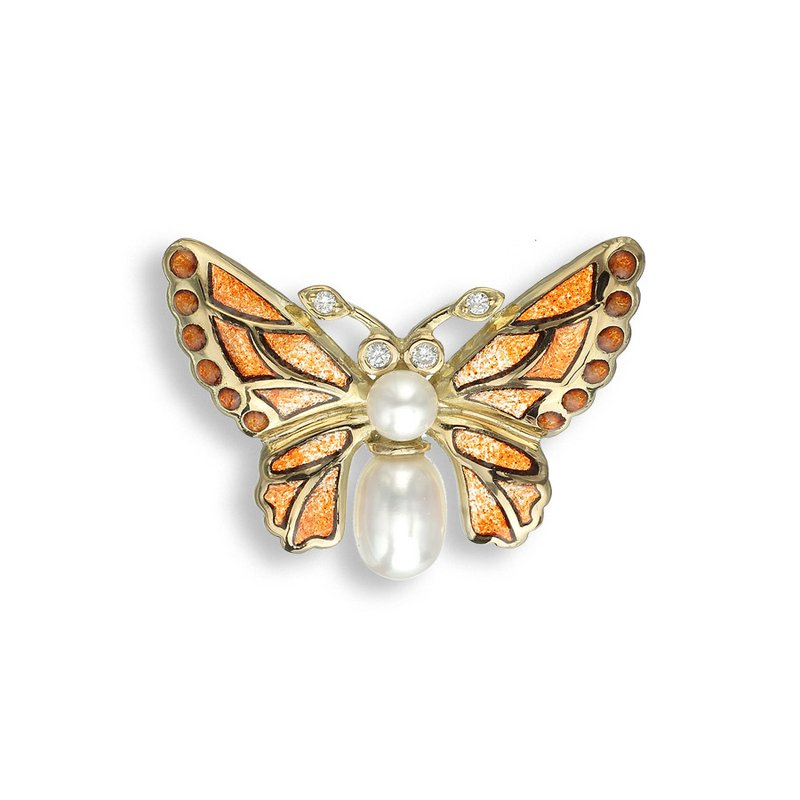 Nicole Barr Designs Orange Butterfly Lapel Pin.18K -Diamonds and Freshwater Pearls