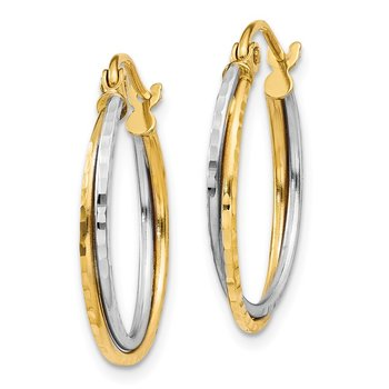 14K Yellow and White Gold Diamond Cut Twisted Hoop Earrings