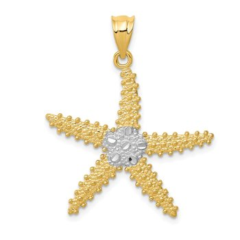 14k & Rhodium Diamond-cut Starfish Pendant