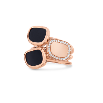 18Kt Gold Ring With Diamonds And Mother Of Pearl