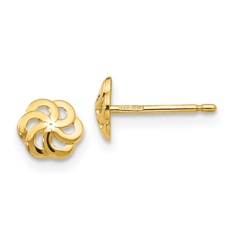 Quality Gold 14k Polished Flower Post Earrings