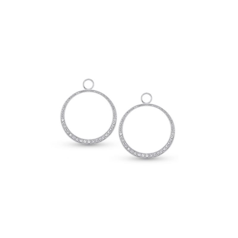MAZZARESE Fashion Diamond Medium Circle Earring Charms in 14k White Gold with 42 Diamonds weighing .27ct tw.