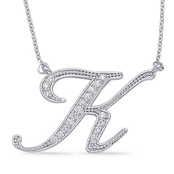 White Gold Diamond Initial K Pendant
