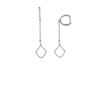 18Kt White Gold Diamond Long Drop Earrings