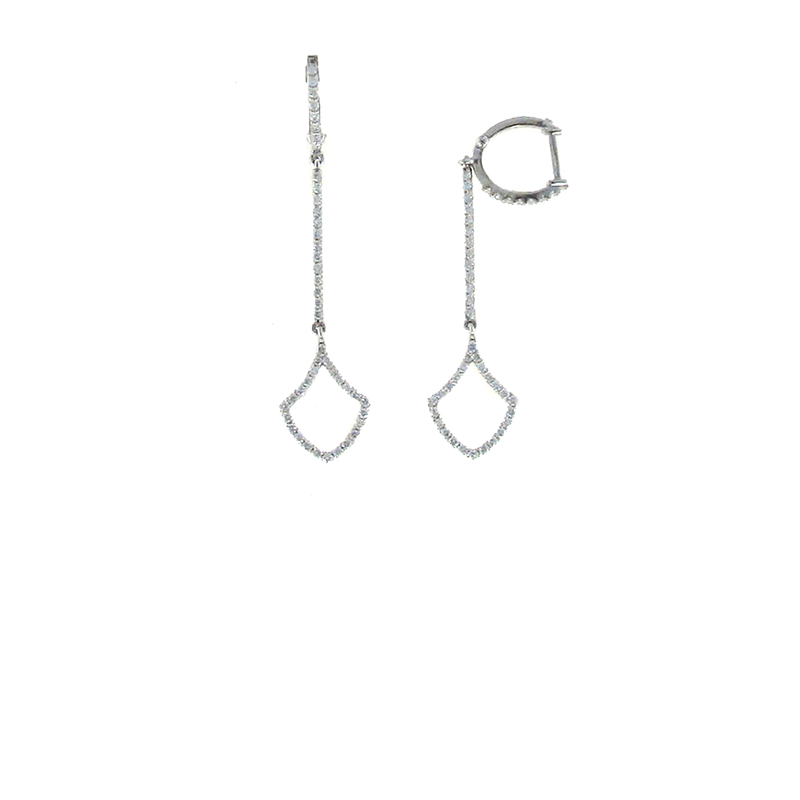 Roberto Coin 18Kt White Gold Diamond Long Drop Earrings
